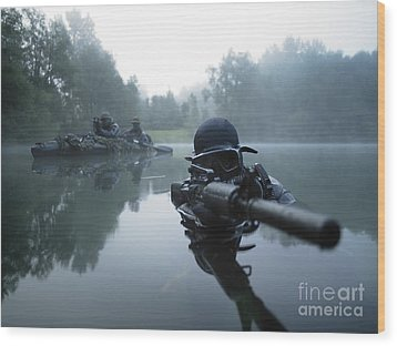 Special Operations Forces Combat Diver Wood Print by Tom Weber