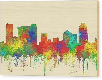 St Petersburg Florida Skyline Wood Print by Marlene Watson