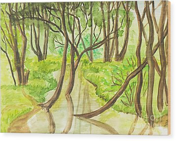 Summer Landscape, Painting Wood Print by Irina Afonskaya