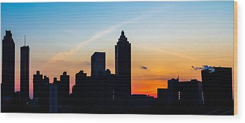 Sunset In Atlanta Wood Print