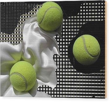 3 Tennis Balls Wood Print by Evguenia Men