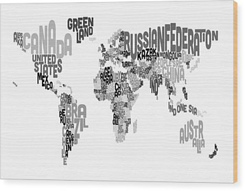 Text Map Of The World Wood Print by Michael Tompsett