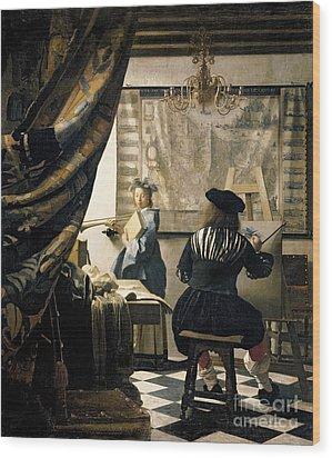 The Artist's Studio Wood Print by Jan Vermeer