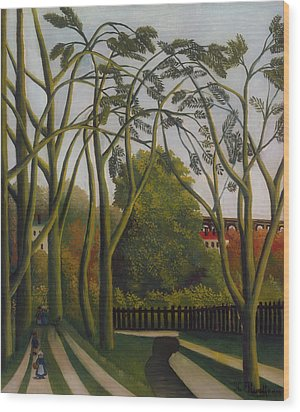 Wood Print featuring the painting The Banks Of The Bievre Near Bicetre by Henri Rousseau