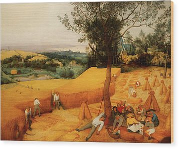 Wood Print featuring the painting The Harvesters by Pieter Bruegel The Elder