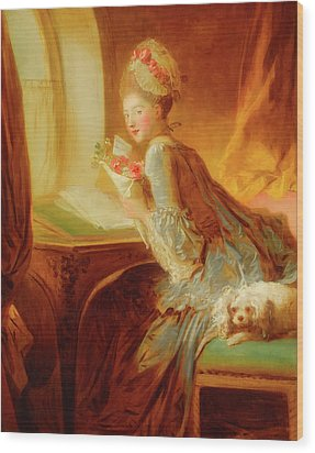 Wood Print featuring the painting The Love Letter by Jean Honore Fragonard