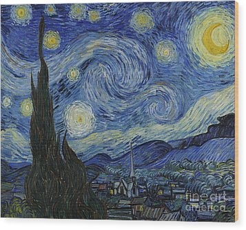 The Starry Night Wood Print by Vincent Van Gogh