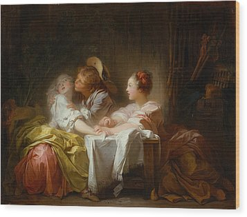 Wood Print featuring the painting The Stolen Kiss by Jean-Honore Fragonard