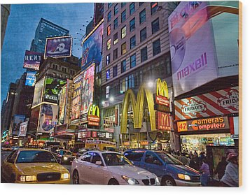 Times Square Wood Print by June Marie Sobrito