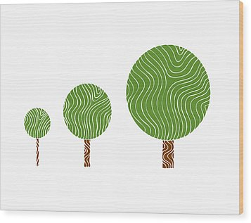 3 Trees Wood Print by Frank Tschakert