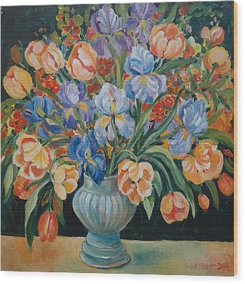 Tulips Wood Print by Alexandra Maria Ethlyn Cheshire