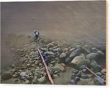 Umbrella On The Rocks Wood Print by Dale Stillman