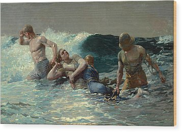 Wood Print featuring the painting Undertow by Winslow Homer