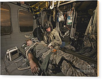 U.s. Army Specialist Practices Giving Wood Print by Terry Moore