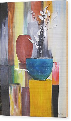 Wood Print featuring the painting 3 Vases by Gary Smith