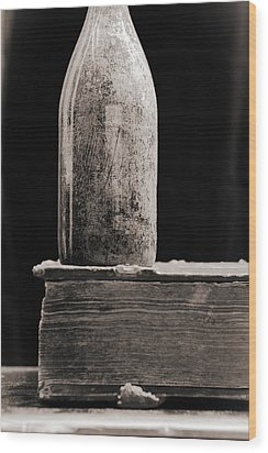 Wood Print featuring the photograph Vintage Beer Bottle #00803 by Andrey  Godyaykin