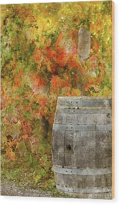 Wine Barrel In Autumn Wood Print