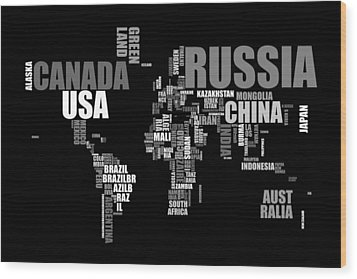 World Map In Words Wood Print by Michael Tompsett