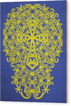 Yellow Butterfly-cross Wood Print by Tong Steinle