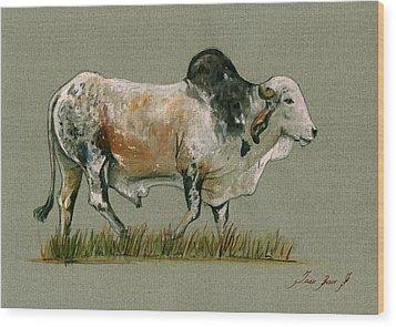 Zebu Cattle Art Painting Wood Print by Juan  Bosco