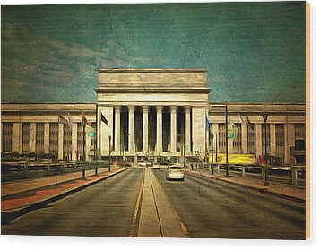 Wood Print featuring the mixed media 30th Street Station Traffic by Trish Tritz