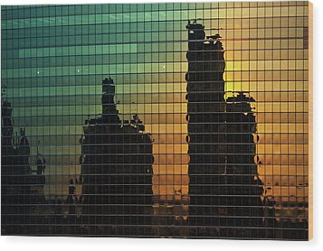 333 Wacker Reflecting Chicago Wood Print by Steve Gadomski