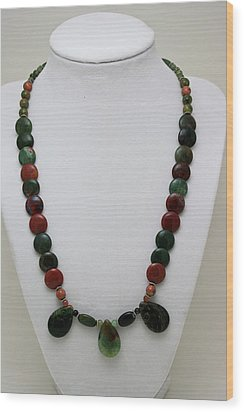 3505 Fancy Jasper And Unakite Necklace Wood Print by Teresa Mucha