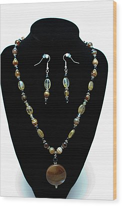 3509 Amber Striped Onyx Set Wood Print by Teresa Mucha
