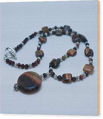 3516 Tiger Eye Necklace  Wood Print by Teresa Mucha