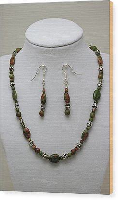 3525 Unakite Necklace And Earring Set Wood Print by Teresa Mucha