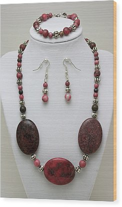 3544 Rhodonite Necklace Bracelet And Earring Set Wood Print by Teresa Mucha
