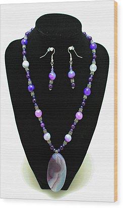 3547 Purple Veined Agate Set Wood Print by Teresa Mucha