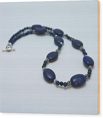 3553 Lapis Lazuli Necklace And Earrings Set Wood Print by Teresa Mucha