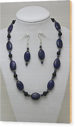 3555 Lapis Lazuli Necklace And Earring Set Wood Print by Teresa Mucha