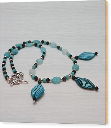 3564 Shell And Semi Precious Stone Necklace Wood Print by Teresa Mucha