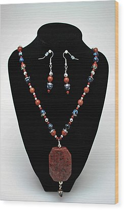 3578 Jasper And Agate Long Necklace And Earrings Set Wood Print by Teresa Mucha