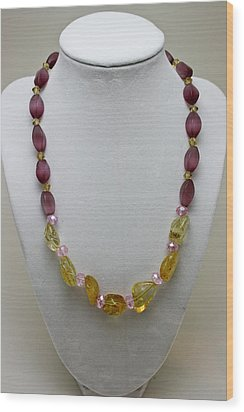 3603 Citrine And Amethyst Cats Eye Necklace Wood Print by Teresa Mucha