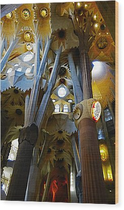Artistic Achitecture Within The Sagrada Familia In Barcelona Wood Print by Richard Rosenshein