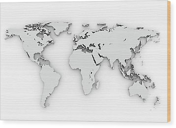 3d Silver World Map Wood Print by Chen Hanquan