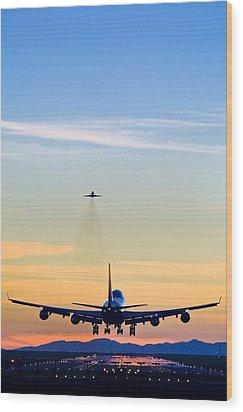 Aeroplane Landing, Canada Wood Print by David Nunuk
