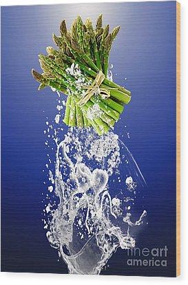 Asparagus Splash Wood Print
