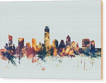 Austin Texas Skyline Wood Print