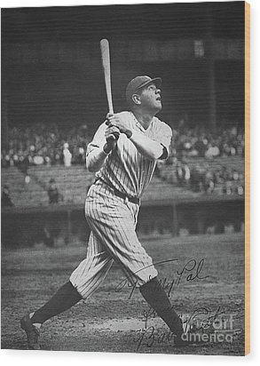 Babe Ruth  Wood Print by American School