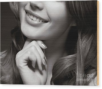 Beautiful Young Smiling Woman Wood Print by Oleksiy Maksymenko