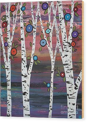 4 Birches Wood Print by Karla Gerard