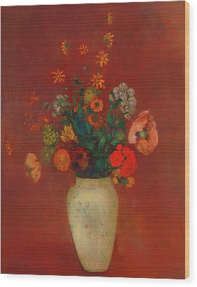 Wood Print featuring the painting Bouquet In A Chinese Vase by Odilon Redon