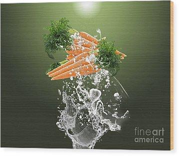 Carrot Splash Wood Print
