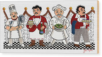 4 Chefs Wood Print by John Keaton