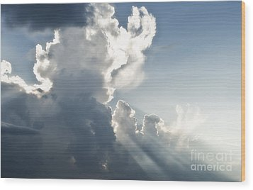 Cloudy Sky With Sun Rays Wood Print by Blink Images