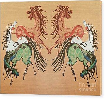 Dancing Musical Horses Wood Print by Scott D Van Osdol